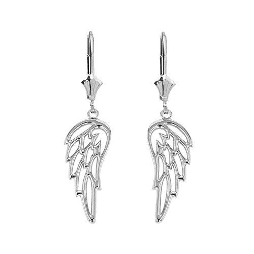 Filigree Gold Earrings White (Fine 14k White Gold Guardian Angel Filigree Wing Dangle Earrings)