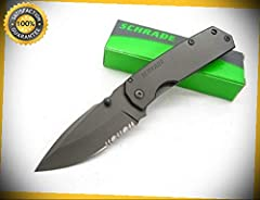 Titanium Coated Mini Framelock Serrated Drop Point Pocket Sharp Knife SCH303MS perfect for outdoor camping hunting