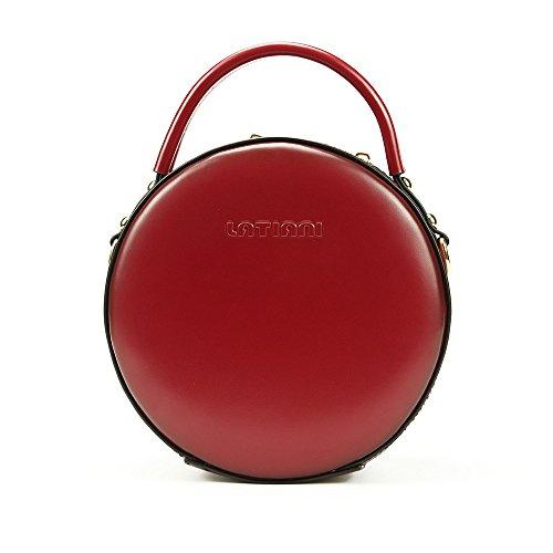 Huailv Women Circle Crossbody Bag Round Leather Shoulder Bag Handbags (Red)