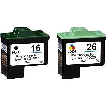 2 Cartuchos Lexmark 16 x l negro + 26 x l color compatli para ...