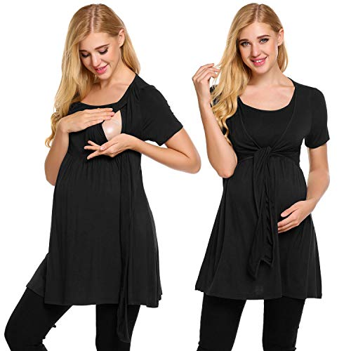 (Ekouaer Women's Maternity Nursing Top Short Sleeve Ultra Soft Breastfeeding)