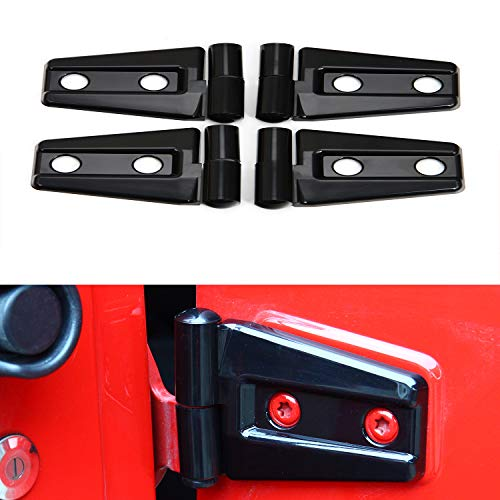 RT-TCZ Jeep Black Door Accessories Door Hinge Cover for 2007-2018 Jeep JK Wrangler Unlimited 4 Door & 2 Door(4PCS)