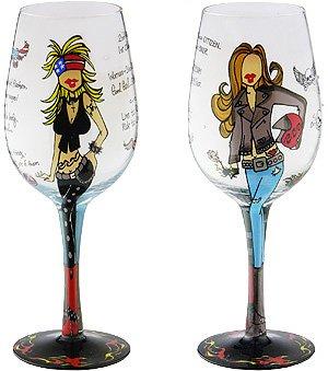 Biker Babe Bottom's Up Wine Glass -