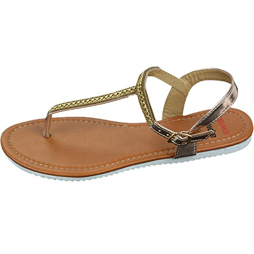 Alpine Zwitsers Slingback T-strap Gouden Ketting Accent-string Sandalen Rose Goud