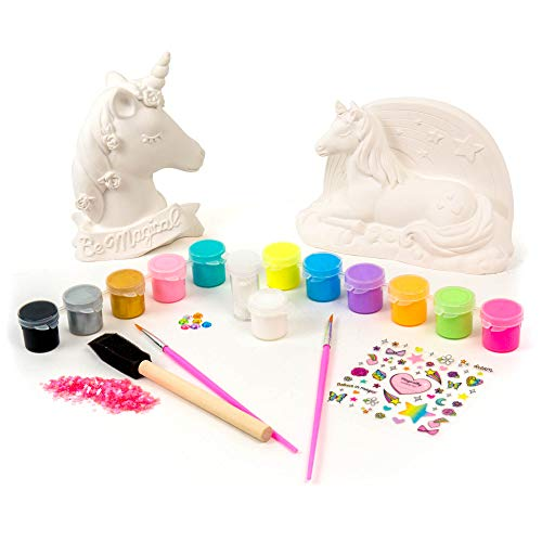 It's So Me Paint Your Own Unicorns by Horizon Group Usa,DIY,Paint & Decorate 2 Ceramic Unicorns,Includes 6 Acrylic Paints,5 Metallic Paints,Gemstones,Glitter,Sticker Sheet,Sequins,Paint Brushes & More