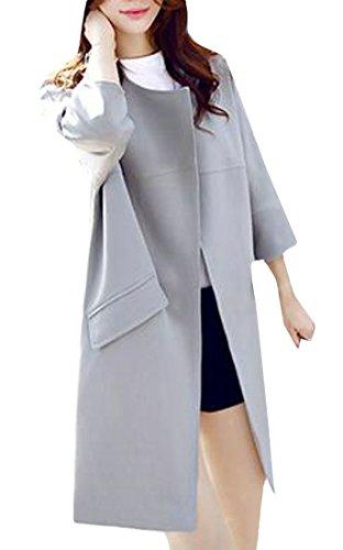 Pandapang Women's Outwear Windbeaker Plain Elegant Solid Color 3/4 Sleeve Mid-Long Trench Coats Gray2 XS (Advance 3/4 Sleeve Coat)