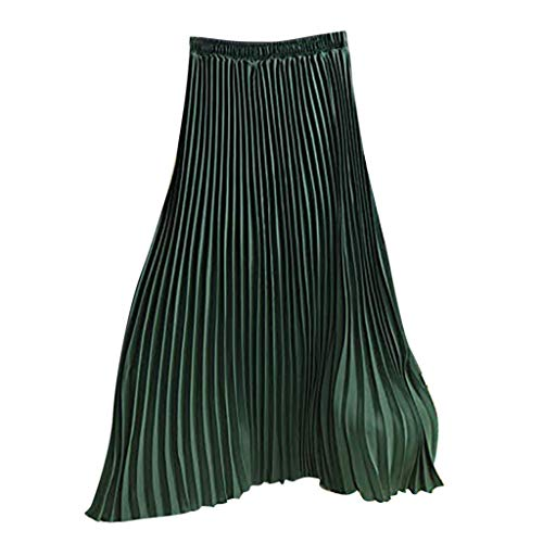 (Womens Long Pleated Skirt Ladies Vintage High Waist Fold Solid Color Loose Beach Maxi Skirt New 2019 (Free, Green))