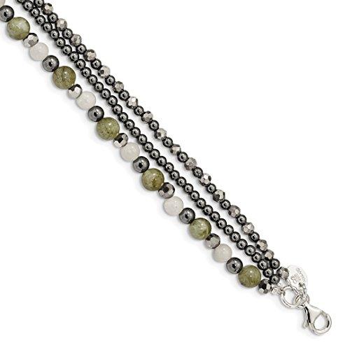 925 Sterling Silver Crystal/hematite/white Jade/labradorite 3 Strand 1 Inch Extension Bracelet 7.5 Gemstone Fine Jewelry For Women Gift Set (Gold White Jade Bangles)