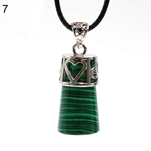 Pendant Opeof Vintage Cylinder Crystal Faux Gemstones Pendant for Necklace DIY Jewelry Making - Malachite