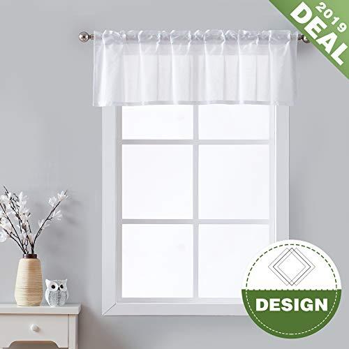 Fmfunctex Sheer White Valance Curtains for Kitchen Short Jacquard Geometric Pattern for Bathroom Windows 56