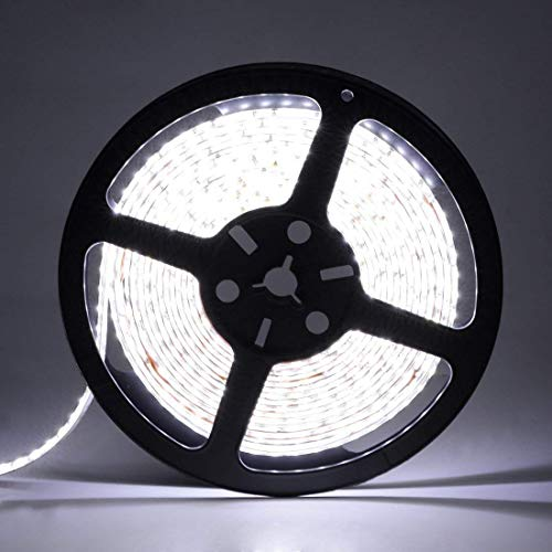 LEDMO LED Strip Lights, SMD 2835 Non-waterproof LED Strip DC12V 600LEDs 16.4Ft 6000K 15Lm/LED High CRI80 LED Light Strips 3 times brightness than SMD3528 LED Strip White