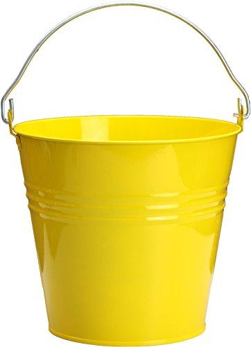 Zinkeimer 12L oder 10L Wassereimer, Blumenkübel, Blumentopf, Pflanzgefäß farbig bunt in rot, gelb, orange, grün und blank, Farbe:Gelb;Liter:10 L