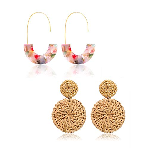 BSJELL Rattan Hoop Earrings Woven Handmade Straw Circle Drop Earrings Hammered Disc Stud Wicker Bohemian Lightweight Earrings for Women (2 Pairs)