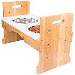 Adjustable Raised Pet Dog Feeder - w/ Silicone Mat & 4 Stainless Steel Bowls by PandPal, Elevated Food & Water Tray Stand, Bamboo Feeding Station w/ 3 Height Levels for Puppies / Large Dogs
