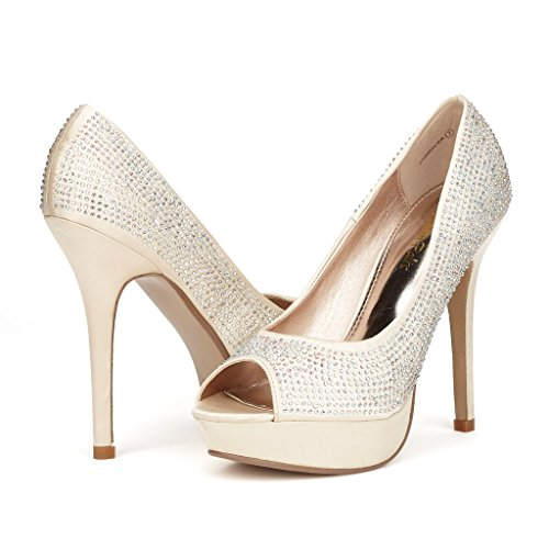 DREAM PAIRS CHANDELIER Women's Elegant Peep Toe Platform Pumps High Stiletto Heel Shoes