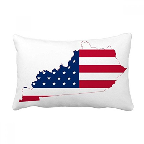 DIYthinker Kentucky USA Map Stars Stripes Flag Shape Throw Lumbar Pillow Insert Cushion Cover Home Sofa Decor Gift