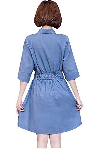2017 nuevo tamaño grande del dril de algodón Vestido delgado color sólido siete mangas cintura vestido