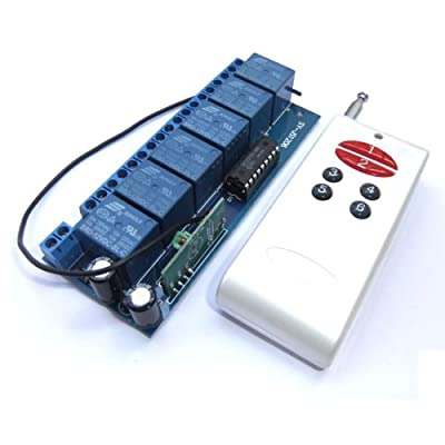 DROK 090174 DC 12V Non-Locking Switched Board 6-Channel Relay Wireless Alarm Remote Control Controller