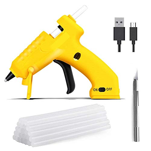 Cordless Glue Gun, USB Rechargeable Lithium Battery 3.7V Safe Voltage Mini Hot Melt Glue Gun with 10 PCS EVA Glue Sticks for DIY Arts, Craft, Home, School, Office Repair by YaphetS