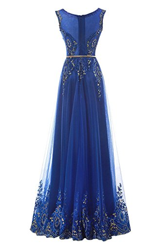 Erosebridal abschlussball Lange kleider Partei Stickerei Abendkleid Königsblau Spitze nB6qHT