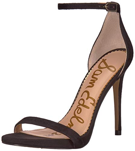 Sam Edelman Women's Ariella Heeled Sandal, Black Suede, 7.5 M US (Mesh Fly Faux)