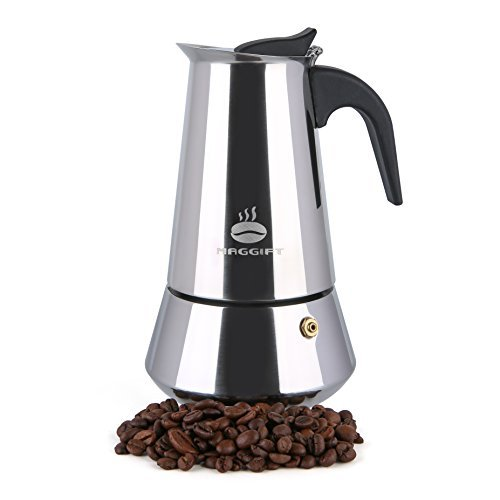 Maggift Coffee Stovetop Espresso Maker, Stainless Steel for Gas or Electric Stove Top Moka Pot (6 Cup) (Percolator Coffee Indian)