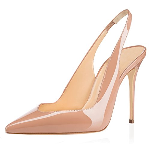 Gattino Beige 10CM Sandali Heels Slingback Donna Fibbiaco Caviglia Con Tacco Scarpe Cinturino da ELASHE OBwxU68n