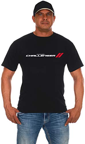 JH Design Men's Dodge Challenger T-Shirt Short Sleeve Crew Neck Shirt (X-Large, Black)