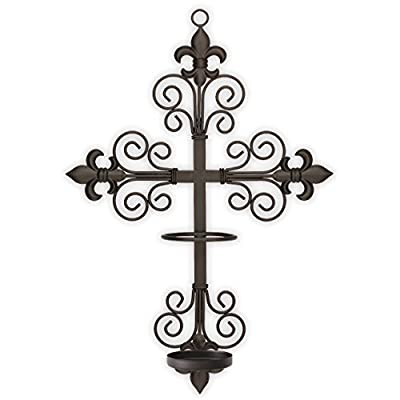 """The Saints Collection Fleur-de-lis Cross Wall Sconce with Candle Safety Guard Ring for All 8"""" x 2.375"""" Flame, Flameless or LED Religious, Devotional, Prayer Candles: Home & Kitchen"""