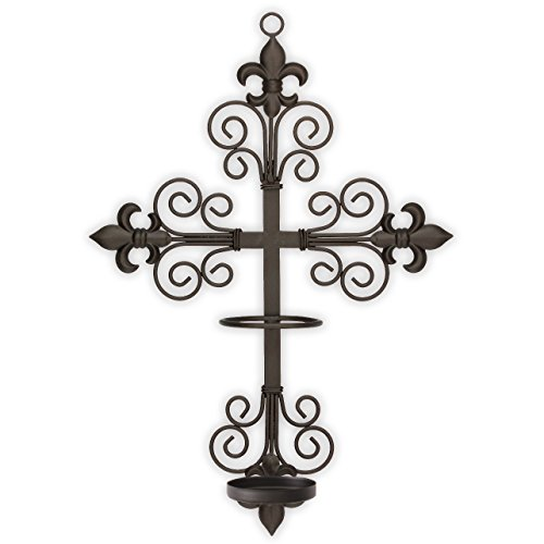 "Cross Wall Sconce with Candle Safety Guard Ring For all 8"" x 2.375"" Flame, Flameless or LED Religious, Devotional, Prayer Candles"