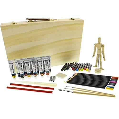 (US Art Supply 46-Piece Watercolor Painting Set Wood Storage Case, Watercolor Colors, Colored Pencils, Oil Pastel Sticks, Graphite Pencils, Artist Brushes, Manikin, Palette Knive, Pencil Sharpener)