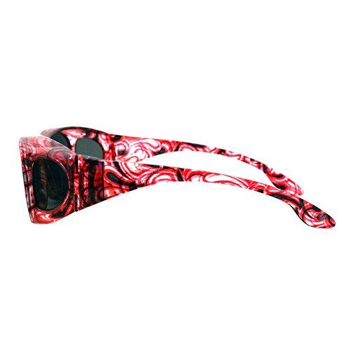 dbbf79163f58 Polarized Sunglasses Fit Over Glasses Oval Rectangular OTG Anti-Glare Light  Red