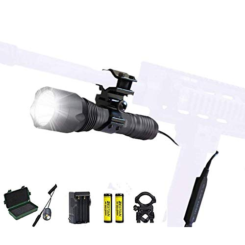 BESTSUN Tactical Flashlight 1200 Lumens Waterproof Cree L2 LED Single Mode Hunting Light with Barrel Rifle Mount, Pressure Switch, Rechargeable Batteries and Charger ()