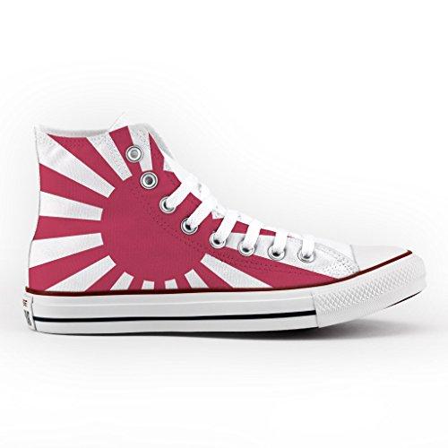 Converse Personalizzate All Star Alta - scarpe artigianali - Japan Flag Multicolor