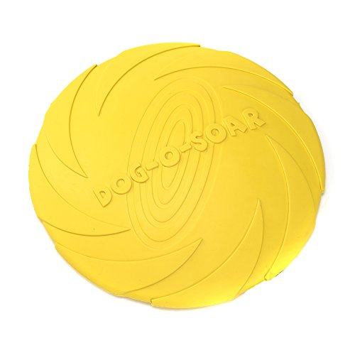 e-young Dog Frisbee Indestructible Dog Flying Disc Dog Chew Soft Safety Toys Interactive Dog Toy for Puppies 7 inch (Yellow)