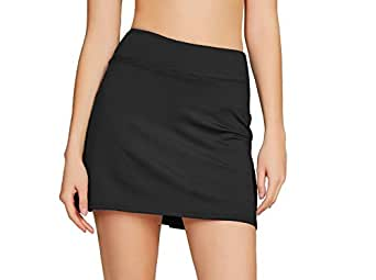 Cityoung Women's Casual Pleated Golf Skirt with Underneath Shorts Running Skortsxs black1