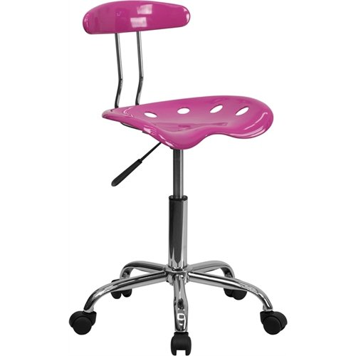 Vibrant Candy Heart and Chrome Swivel Task Chair with Tractor Seat