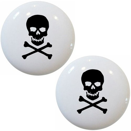 (Set of 2 Black Skull & Crossbones Ceramic Cabinet Drawer Knobs)