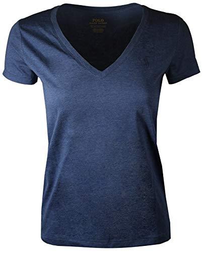 Polo Ralph Lauren Women's Pony Logo V-Neck Tee (X-Large, Blue Oil (Blue ()