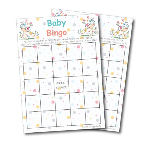 Baby Shower Games (Bingo): Set Includes 50 Gender Neutral Baby Bingo Cards; Cute Giraffe Design; Perfect Baby Shower Card Game For Gender Reveal Party; Fun, Unique, and Easy to -
