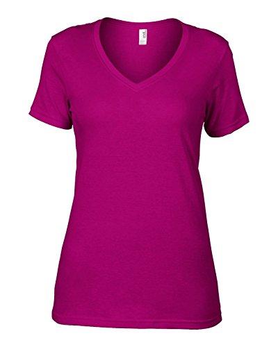 Anvil av123Ladies Camiseta De Algodón Sheer cuello en V rosa XXL