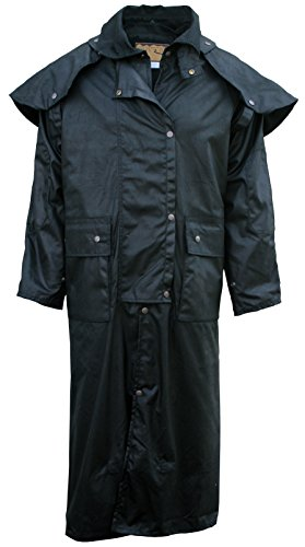 Fox Fire Mens Oilskin Oilcloth Waterproof Outback Trail Australian Duster Coat Black ()