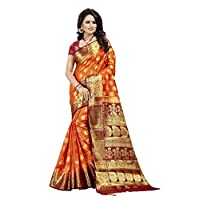 Dealsure Women's Orange & Red Banarasi Saree with Blouse Piece
