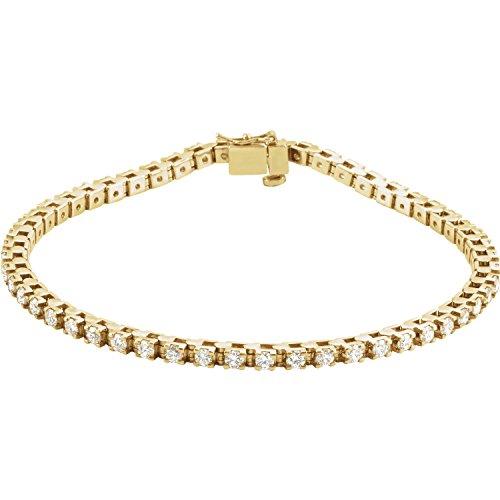C.Hersh Women's 14k Yellow Gold Diamond Set Line Bracelet (2 1/8 ctw, I1 Clarity, G-H Color) -7 x 0.09 inches ()