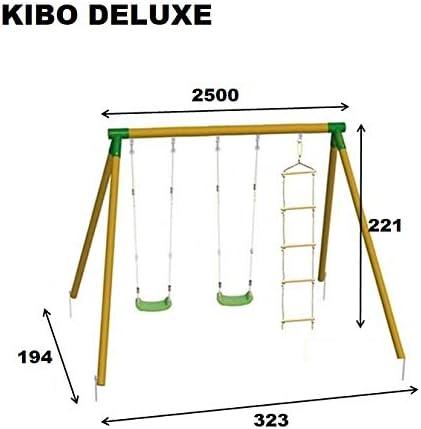 MASGAMES | Columpio de Madera KIBO Deluxe | Dos Asientos Planos de plástico de Cuerdas Regulables + una Escalera de Cuerdas | Madera tratada | Anclajes incluidos | Uso doméstico |: Amazon.es: Juguetes y juegos