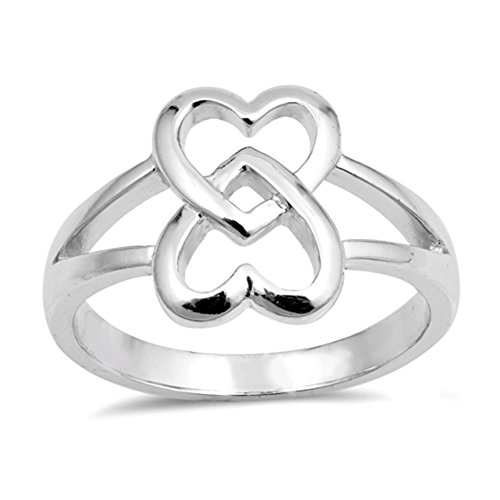 Interlocking Heart Ring - 5