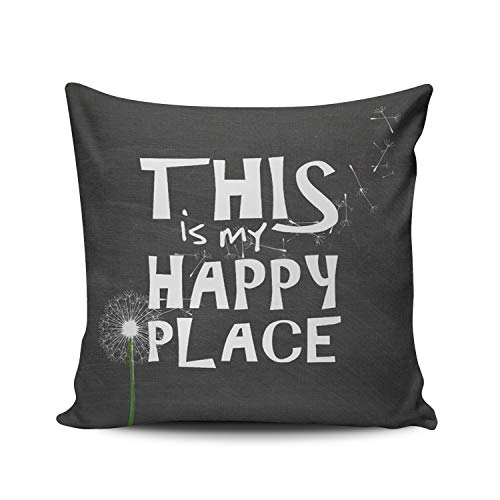 DOUMIFA Home Throw Pillow Case Charcoal Gray and White Dandelion Happiness on Chalkboard Square Decorative Pillowcase Cushion Cover Both Sides Same Colored Printing 18X18 inch (1-Pack)