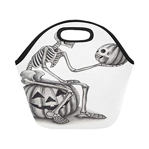 Insulated Neoprene Lunch Bag Halloween Skull Pumpkin Hand Drawing On Large Size Reusable Thermal Thick Lunch Tote Bags For Lunch Boxes For Outdoors,work, Office, -