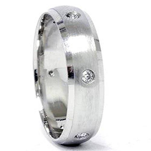 Palladium Beveled (Mens 950 Palladium Beveled Diamond Wedding Ring Band)