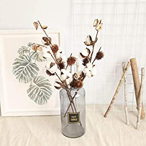 Gotian Artificial Naturally Dried Cotton Stem Farmhouse Flower Filler Floral Home Decor - Plants - Home Office Garden Flower Wedding Decor Party Home Decor~ 1 x Cotton Stems Flower (49cm) 59